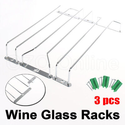 3PCS Wine Rack Glass Holder Hanging Bar Hanger Iron Shelf Free 6pc Screws NEW