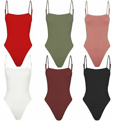 New Womens Square Neck Cami Strappy Sleeveless Leotard Bralet Bodysuit Top 8-14
