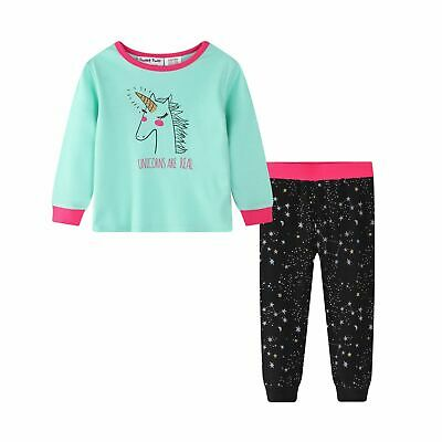 Girls Winter Long Knit Pjs 100% Pure Cotton (805) Mint Unicorn Sz 0-2