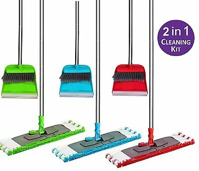 Long Handled Dustpan and Brush & Extendable Microfibre Mop set Broom Sweeper for