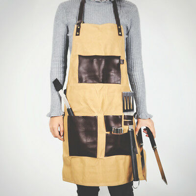 Waxed Canvas Grill BBQ Tool Work Shop Apron Heavy Duty Woodworking Workshop S-M