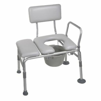 Drive Medical Combination Padded Seat Transfer Bench with Commode Opening Gray