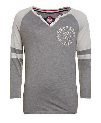 New Womens Superdry Factory Second Tri League Cut And Sew Baseball Top Grey