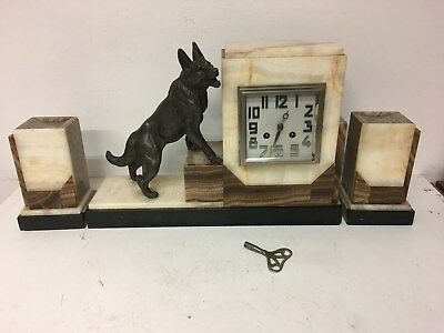 Art Deco Striking Marble Mantel Clock with Garniture and Spelter Alsatian