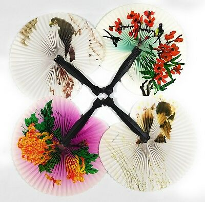 Chinese Paper Folding Hand Fan Oriental Party Wedding Favors US Lot of 4pcs