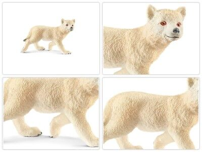 Schleich Arctic Wolf Cub Toy Figurine Educational Play Kids Birthday Gift White