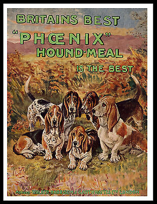 Basset Hound Lovely Vintage Style Dog Food Advert Art Print Poster