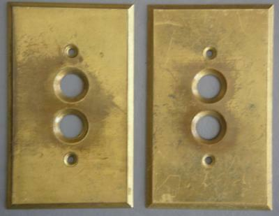 Original Vintage Lot Of Two GE Brass Single Push Button light Switch Covers
