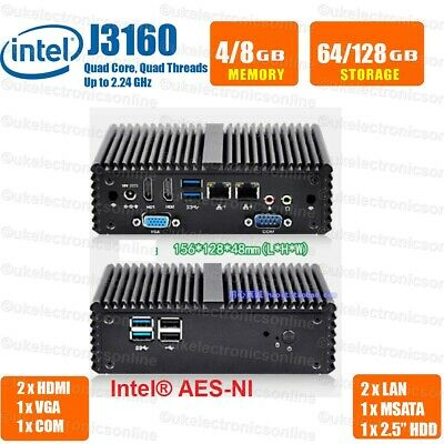 Fanless Mini PC Dual LAN Port Daul RS232 Intel J1900 Mini Desktop Computer