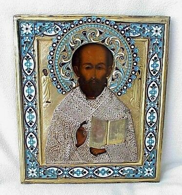 19c. RUSSIAN IMPERIAL GOLD ICON ORTHODOX BISHOP NICOLAS MYRA WOOD EGG TEMPERA