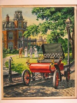 1901 Oldsmobile Curved Dash Automobile ORIGINAL Styling Art Painting md3078
