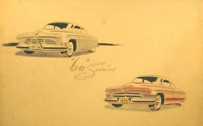 c. 1944 Cadillac 60 Special Automobile ORIGINAL Styling Art Painting md3116