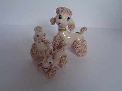 Vintage Pink Poodle Family Figurines Set Of 3 Spaghetti Style Japan
