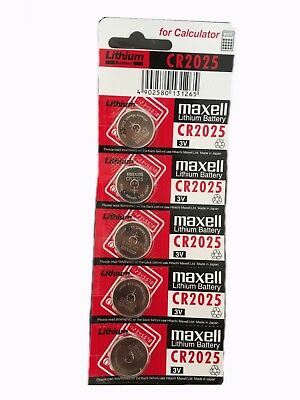 5 x Maxell 2025 CR2025 Lithium battery 3V Made in Japan