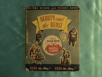 Vintage Children's Book Beauty And The Beast with Promo Record Raisin Bran   D25