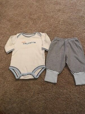 Child Of Mine Carters Infant Boys Blue White Huggable Outfit 0-3 Months