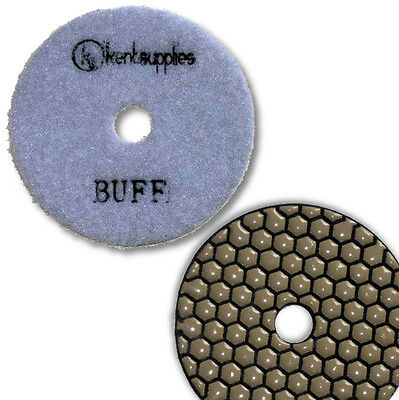 "KENT Premium Quality 4"" DRY, WHITE Buff, 2mm Thick, Diamond Polishing Pad"