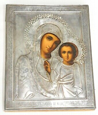 """19c. RUSSIAN IMPERIAL 84""""SILVER ICON ORTHODOX HOLY MATHER KAZAN WOOD EGG TEMPERA"""