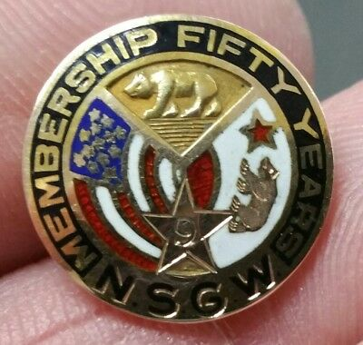 N.S.G.W. 50 Year Membership Pin - Solid 14K Gold -Native Sons of the Golden West