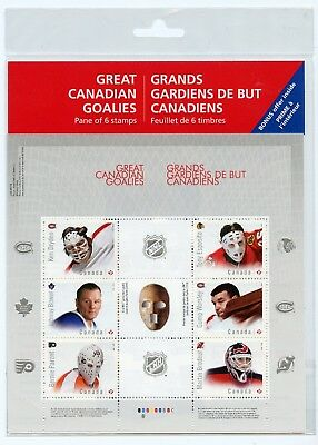 Weeda 2866 VF NH NHL Great Canadian Goalies pane of 6 in pack CV $10.50