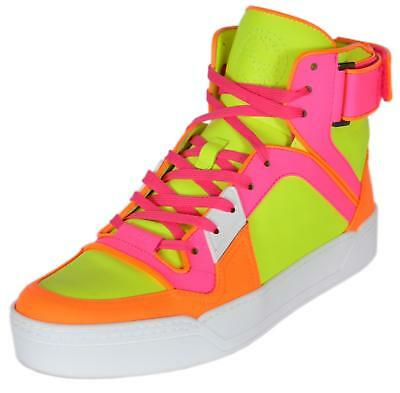 d128de5fc54 NEW Gucci Women s 388015 Neon Leather GG High Tops Trainers Sneakers Shoes