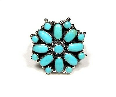 Genuine American Blue Turquoise 925 Sterling Silver Cluster Ring Size 8