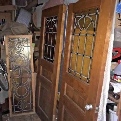 Mid Century Modern Set of 3 Stained glass door & transom 1950s 60s Architectural