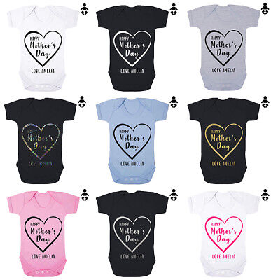 HAPPY MOTHER'S DAY... LOVE - Personalised name, mum, BABY VEST / GROW Bodysuit