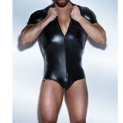 Sexy Pvc Men T Shirt Erotic Gimp Gay Vest Suspenders Fetish Clubwear Fancy Dress