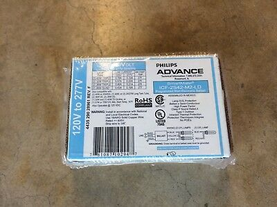 Philips ADVANCE IntelliVolt ICF-2S42-M2-LD 2-lamp 42W Triple CFL Ballast 120-277