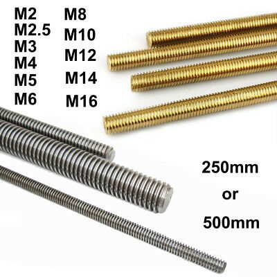 M2 M2.5 M3 M4 M5 M6 M8 M10 M12 M16 Threaded Rod Screw Full-Threaded 250mm 500mm