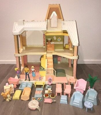 Vintage Playskool Victorian Dollhouse With Family Lots Of Furniture