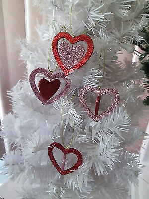 """Pkg of 6-Assted Red & Pink Glitter Spinner Heart Valentines Day Ornaments, 2"""""""