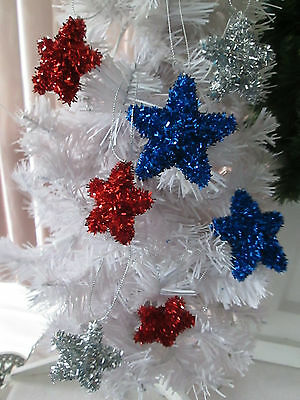 4th of July-12  Patriotic Red, Silver, Blue Tinsel Star Ornaments, Assorted  New