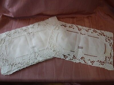 9pc Vintage White Linen Embroidery Cutwork Lace Placemats MAC Monogram