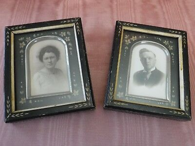 Pair Small Antique Vintage Double Picture Frames Painted Carved Wood