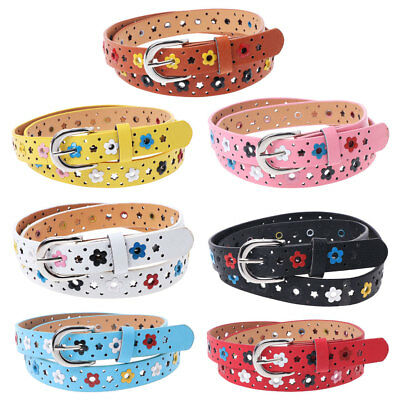 Baby Girls Children Faux Leather Adjustable Waist Belts Floral Print Hollow Out