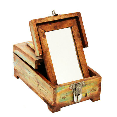 Vintage Antique Wooden Mirror Dressing Case Jewelry Cosmetic Storage Display Box