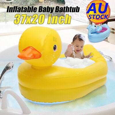 AU Kids Baby Inflatable Safety Duck Baby Bath Tub Shower Travel Swimming Pool