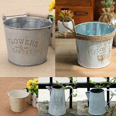 Vintage Basket Bucket Planters Pot Metal For Plant and Flower Home Garden Decor