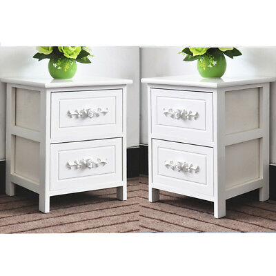 Set of 2 White Rose Wooden Bedside Tables Cabinets Nightstand 2 Storage Drawers