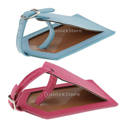 2 Pieces PU Leather Luggage Tag Travel Suitcase ID Security Label Blue+Rose
