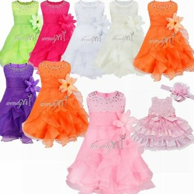 Lace Flower Baby Kid Party Wedding Girl Princess Dress Bridesmaid Formal Dresses