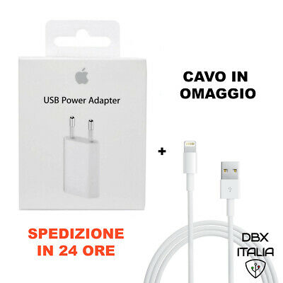 Carica Batteria Originale Per Apple Iphone 5 6 7 8 X Xs Xr Plus Md813 + Cavo Usb