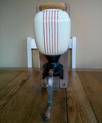 vintage wall mounted coffee grinder ceramic Moulin a café red stripe shabby chic