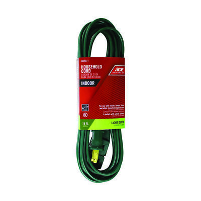 NEW! ACE Indoor Extension Cord 16/2 SPT-2 Green 15' 3005071