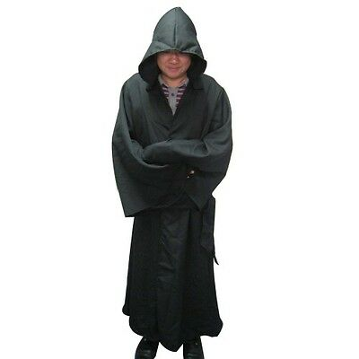Robe & Hood Black Adult Fancy Dress Monk Reaper Halloween Black  Adult One Size