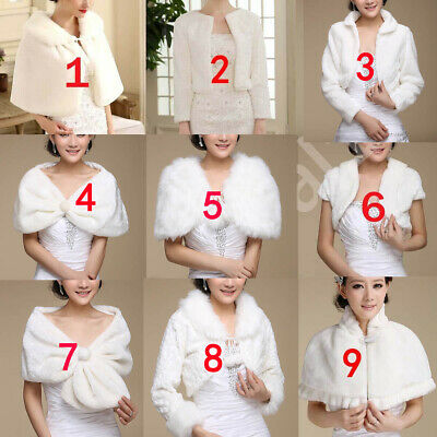 Wedding Shawl Bridal Wrap Faux Fur Stole Prom Shrug Bolero Cape Jacket Winter