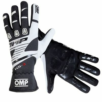 OMP karting gloves KS-3 BLACK/WHITE Sizes XXS XS S M L XL kart KS3 NEW 2018