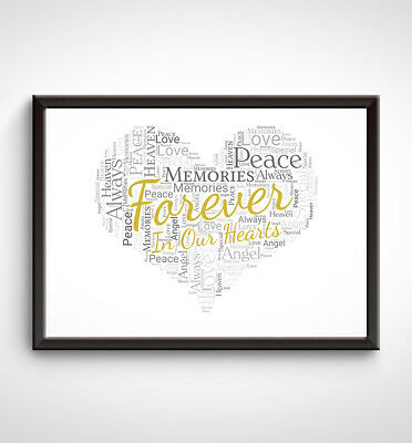 PERSONALISED Forever in our Hearts Word Print Picture Gift Sympathy Memories A4